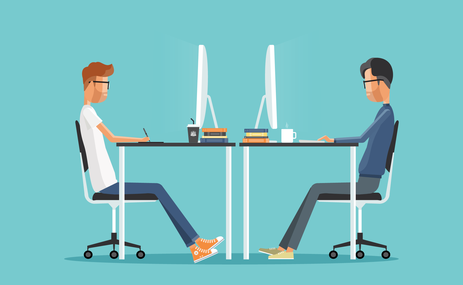 Illustration of two creatives at work, facing eachother